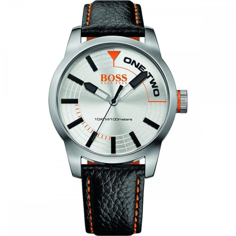 27794a0bbf6 Hugo Boss Orange Mens Leather Strap Watch 1513215