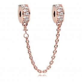c8774192b Pandora Shining Elegance Rose Safety Chain 786322CZ